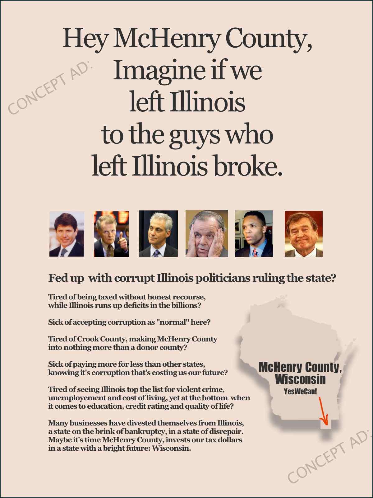 Left Illinois concept ad