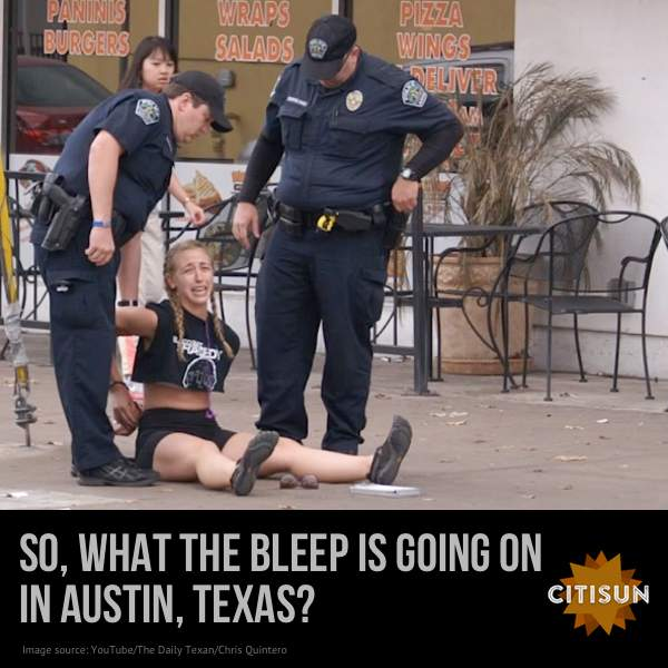 Photo of jogger being arrested in Austin, Texas, as reported by the Blaze.